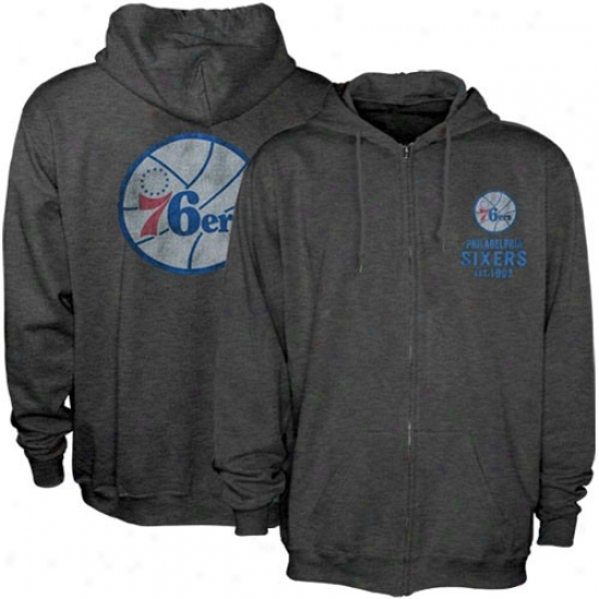 76ers Stuff: Sportiqe 76ers Charcoal Heathered Full Zip Hoody Sweatshirt