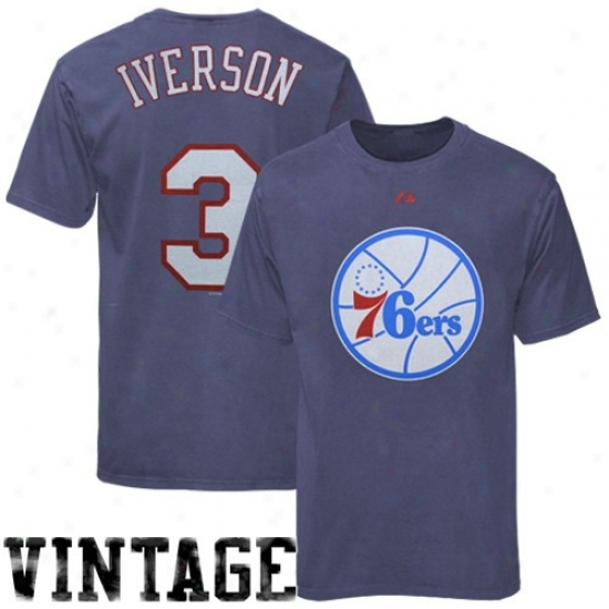 76ers T Shirt : Majestic 76ers #3 Allen Iverson Light Blue Player Throwback T Shirt