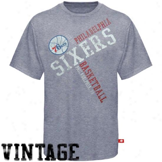 76ers T-shirt : Sprotiqe 76ers Heather Ash Traffic Jam Triblend Vintage Premium T-shirt
