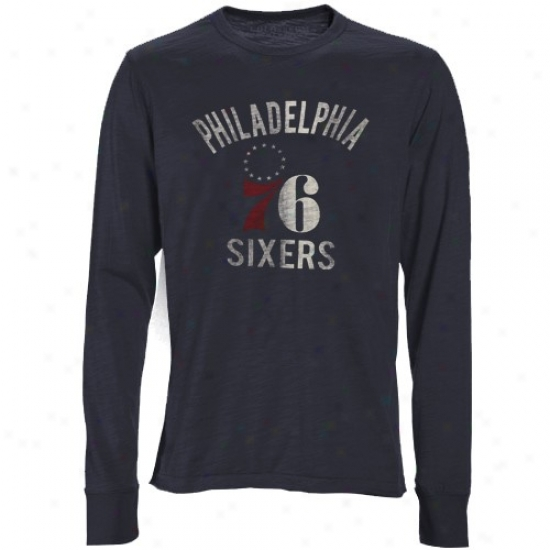 76ers Tee : Banner '47 76ers Carcoal Bicentennial Logo Long Sleeve Annual rate  Tee