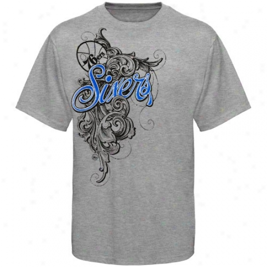 76ers Tees : 76ers Ash Scroll Tees