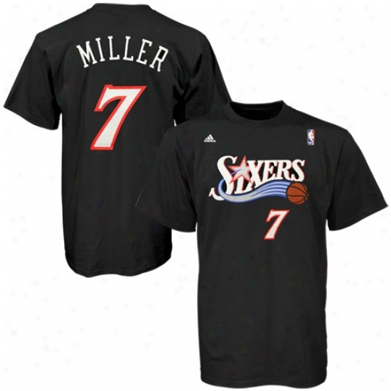 76ers Tees : Adidas 76ers #7 Andre Miller Black Clear Player Tees