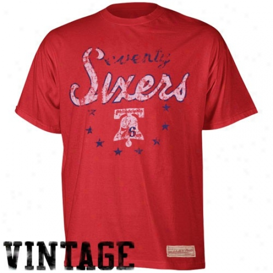 76ers Tees : Mitchell & Ness 76ers Red Thrwoback Logo Premium Tees