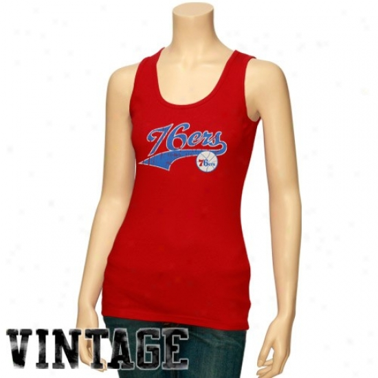 76ers Tshirt : 76erss Ladies Red Distressed Logo Tank Top