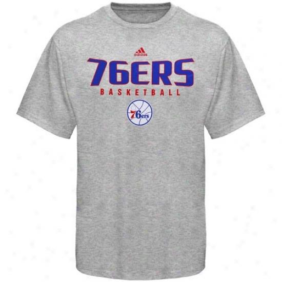 76ers Tshirts : Adidas 76ers Ash Absolute Tshirts