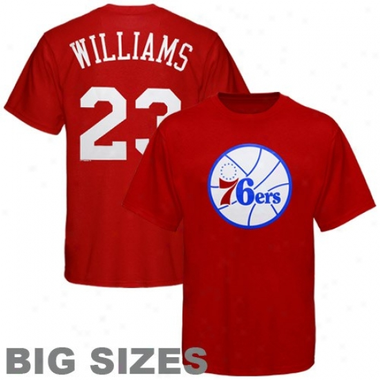 76ers Tshirts : Majestic 76ers #23 Louis Williams Red Player Big Sizes Tshirts