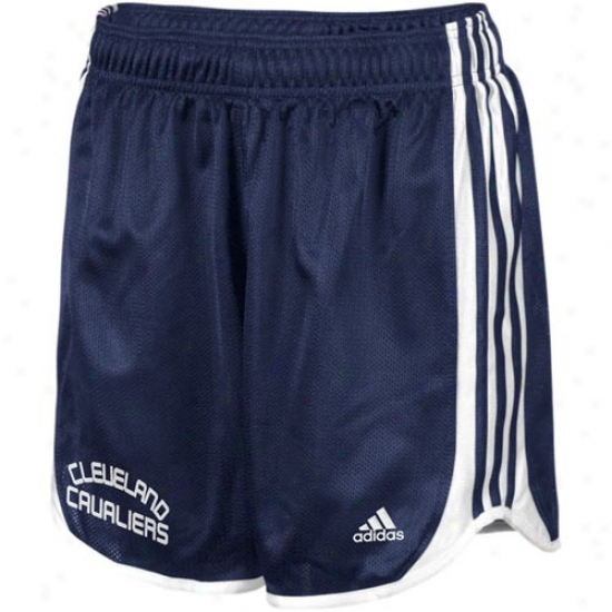 Adidas Cleveland Cavaliers Ladies Navy Blue Datto Mesh Shorts