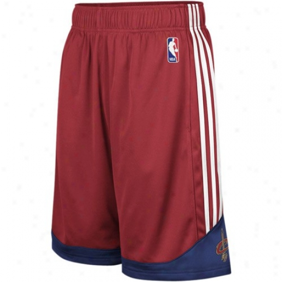 Adidas Cleveland Cavaliers Wine Pre-game Mehs Basketball Shorts