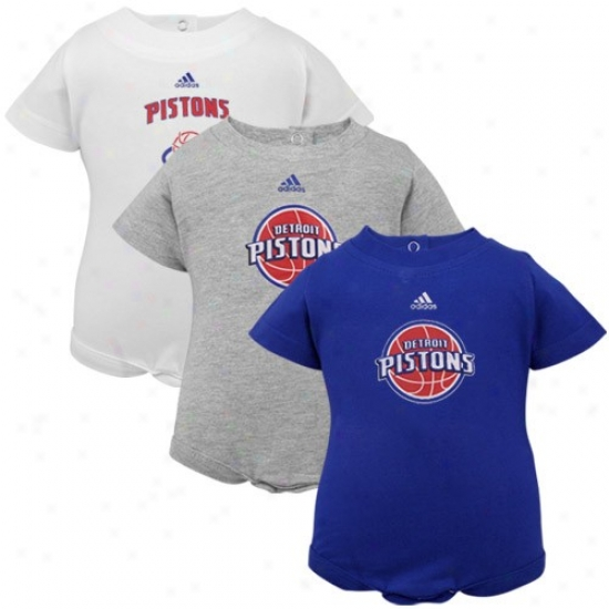Adidas Detroit Pistons Infant Royal Blue, White & Ash 3-pack Creeper Set