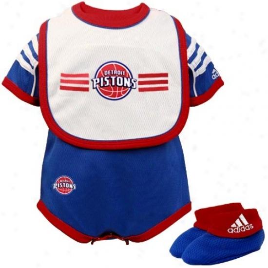 Adidas Detroit Pistons Royao Blue Newborn 3-piece Mesh Creeper Set