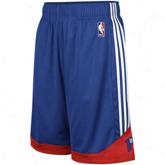 Adidas Detroit Pisgons Youth Royal Blue Pre-game Mesh Baskerball Shorts
