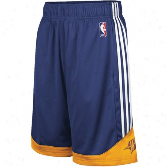Adidas Golden State Warriors Youth Navy Blue Pre-game Mesh Basketball Shorts