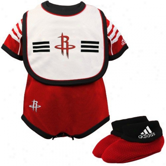 Adidas Houston Rockets Infant Red 3-piece Mesn Creeper Set