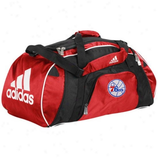 Adidas Philadelphia 76ers Red Team Logo Gym Duffel Bag
