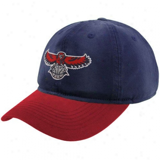 Atlanta Hawk Cap : Adidas Atlanta Hawk Navy Blue-red Garment Washed Slouch Cap