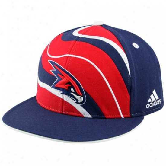 Atlanta Hawk Caps : Adidas Atlanta Hawk Navy Blue Spiral Flat Beak Fitted Caps