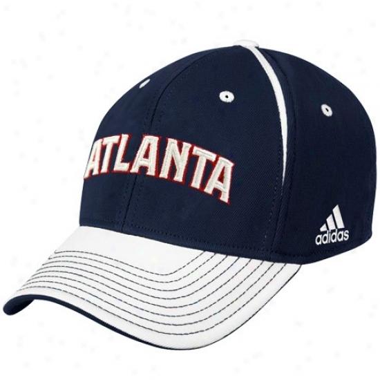 Atlanta Hawk Caps : Adidas Atlan5a Hawk Navy Blue Block Lettering Flex Fit Caps