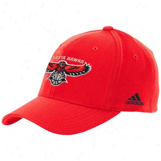 Atlanta Hawk Hat : Adidas Atlanta Hawk Red Basic Team Logo Slouch Flex Fit Hat