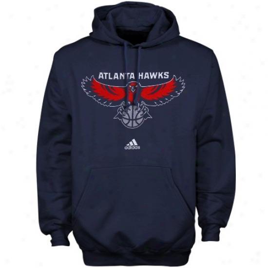 Atlanta Hawk Hiodies : Adidas Atlanta Hawk Navy Blue Primary Logo Hoodies