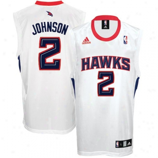 Adidas Atlanta Hawks #2 Joe Johnon White Replica Basketvall Jersey - Cheer