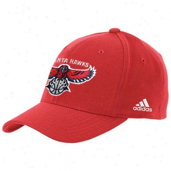 Atlanta Hawk Merchandise: Adidas Atlanta Hawk Red The Pivot Logo Flex Fit Hat