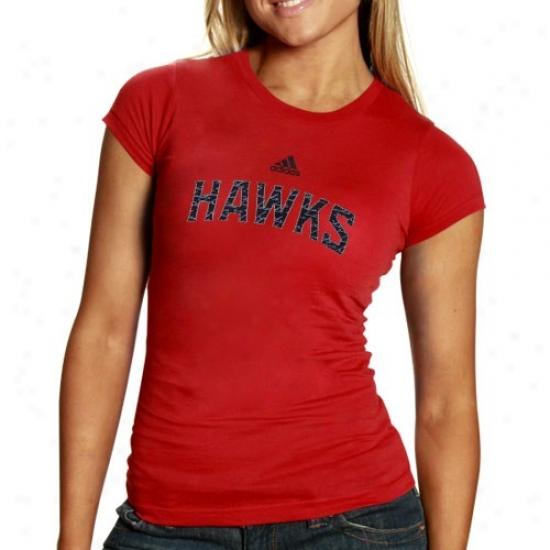 Atlanta Hawk T-shirt : Adida Atlanta Cry Ladies Red Inner Thoughts Silky Smooth T-shirt