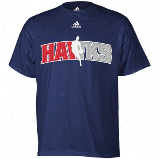 Atlanta Hawk Tshirts : Adidas Atlanta Hawk Navy Blue Draft Dribbler Tshirts