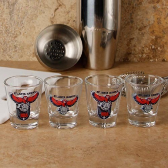 Atlanta Hawks 4-pack Enhanced High Definition Design Shot Glass Set