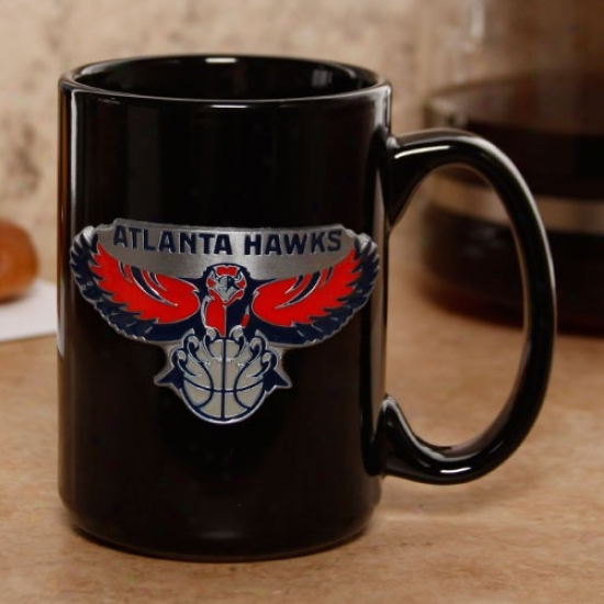 Atlanta Hawks Black 15oz. Pewter Logo Mug