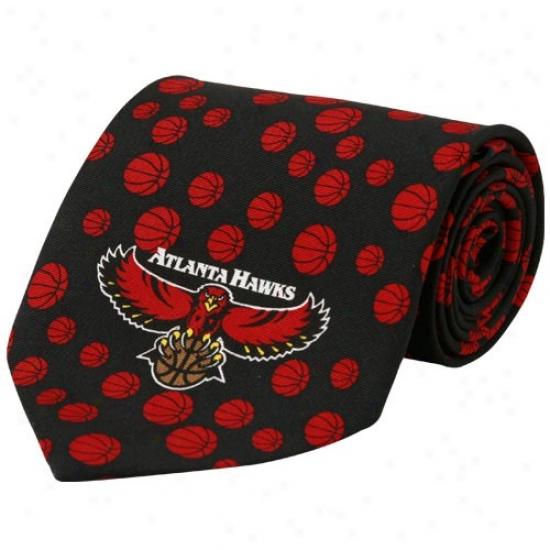 Atlanta Hawks Black Basktball Prin Silk Neck Tie