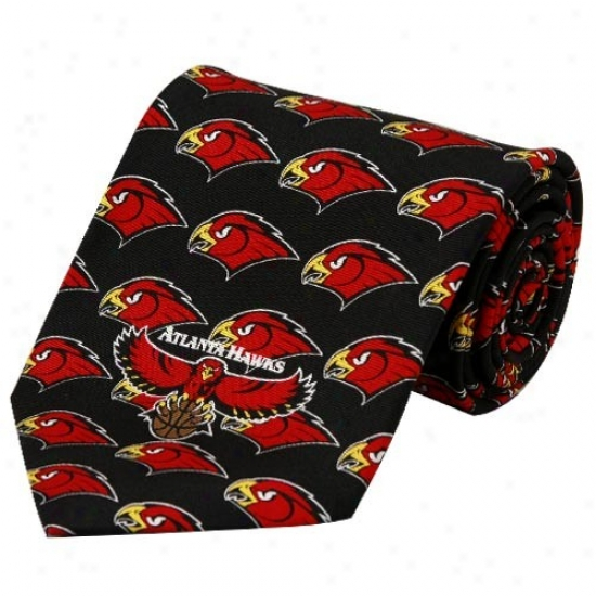 Atlanta Hawks Black Logo Print Silk Neck Tie