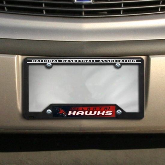 Atlanta Hawks Black Plastic License Plate Frame