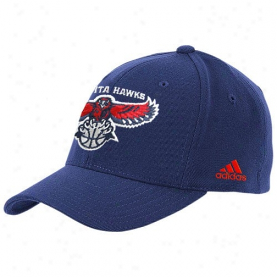 Atlanta Hawks Caps : Adidas Atlanta Hawks Navy Blue The Pivot Loggo Flex Fit Caps