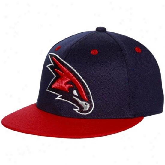 Atlanta Hawks Hat : Adidas Atlanta Hawks Navy Blue-re d210 Fitted Flexfit Flat Brim Hat