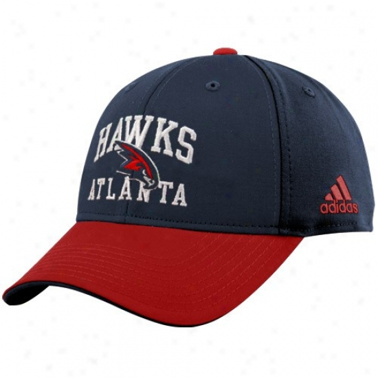 Atlanta Hawks Hats : Adidas Atlanta Hawks Navy Blue-red Pro Structured Adjustable Hats