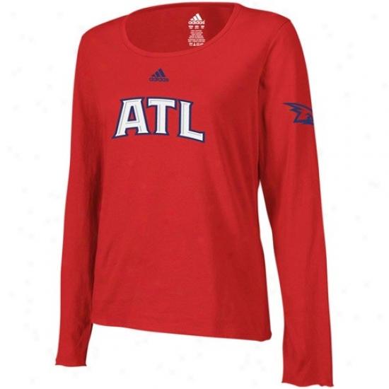 Atlanta Hawks Shirt : Adidas Atlanta Hawks Red Layered Logo Update Long Sleeve Tissue Shirt