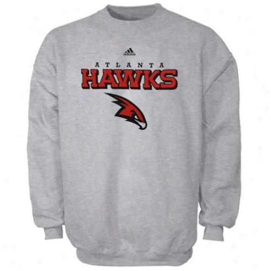 Atlanta Hawks Stuff: Adidas Atlanta Hawks Ash True Crew Sweatshirt
