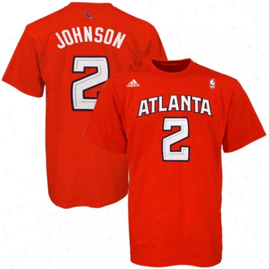 Atlanta Hawks Tee : Adidas Atlanta Hawks #2 Joe Johnson Red Player Tee