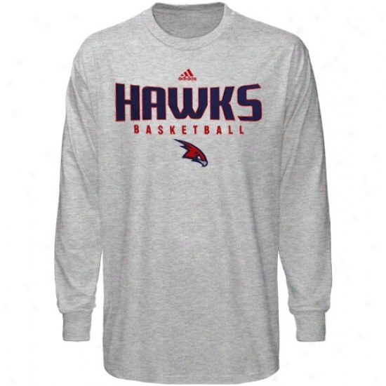 Atlanta Hawks Tee : Adidas Atlanta Hawks Ash Absolute Long Sleeve Tee