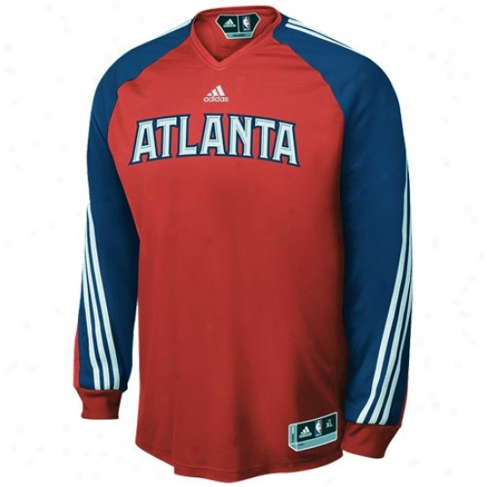 Atlanta Hsks Tee : Adidas Atlanta Hawks Red On Court Shooting Long Sleeve Performance Tee