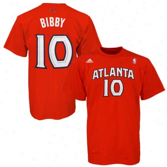 Atlanta Hawks Tshirt : Adidas Atlanta Hawks #10 Mike Bibby Red Player Tshirt