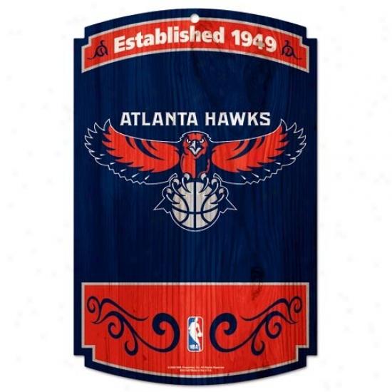 Atlanta Hawks Wood Sign