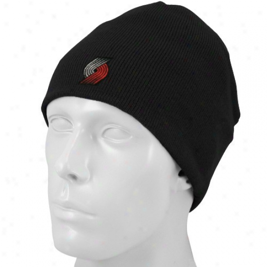 Blazers Gear: Adidas Blazers Black Basic Logo Scully Knit Beanie