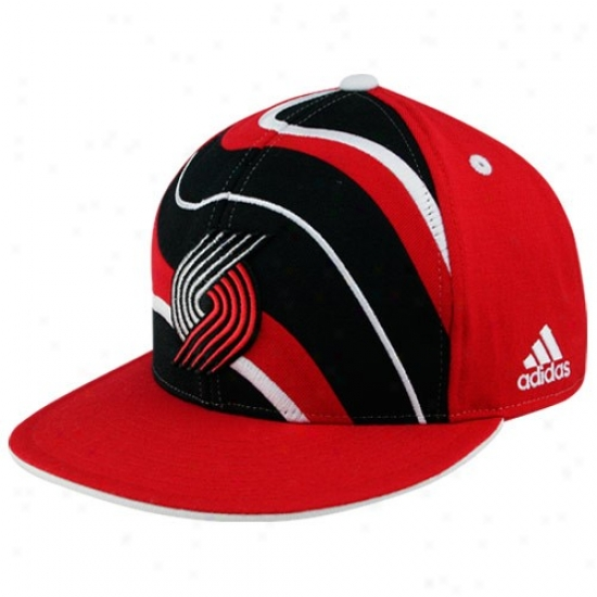 Blazers Gear: Adidas Blwzers Red Spiral Flat Bill Fitted Hat