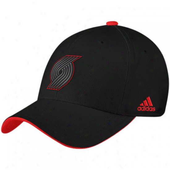 Blazers Merchandise: Adidas Blazers Black Tonal 210 Fitted Flex Cardinal's office