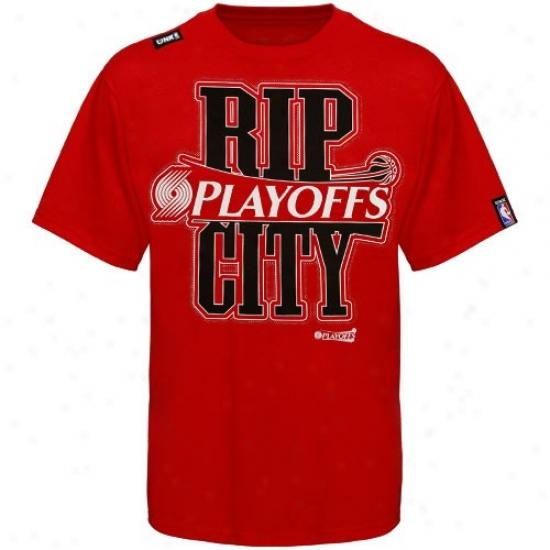 Blazers T-shirt : Adidas Bozaers Red Rip City T-shirt