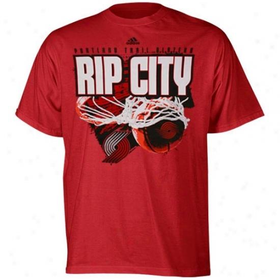 Blazers Tshirts : Adidas Blazers Red Rip City Tshirts