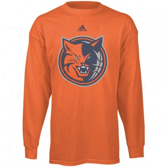 Bobcats Shirt : Adidas Bobcats Youth Orange Primary Logo Long Sleeve Shirt