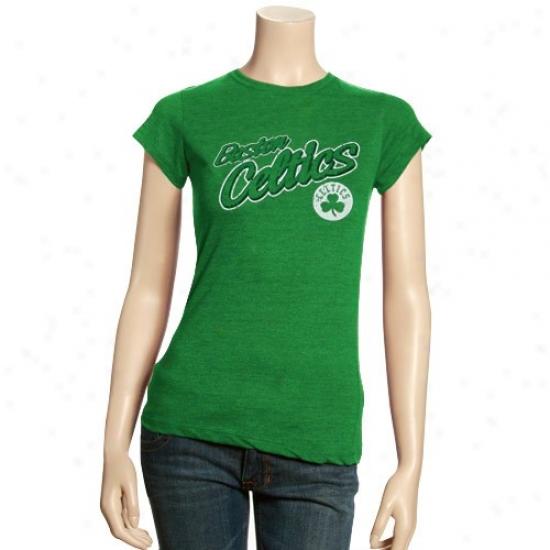Boston Celtic Apparel: Boston Celtic Ladies Kelly Green Basic Logo Triblend T-shirt