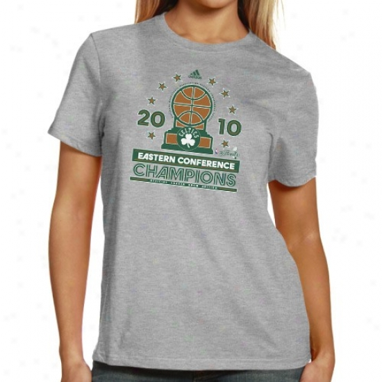 Boston Celtic Attire: Adidas Boston Celtic 2010 Nba Oriental Confference Champions Ladies Ash Conference Elite Official Locker Room T-shirt